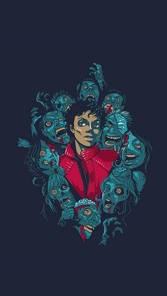 Michael Jackson Thriller Illustration iPhone 5 Wallpaper