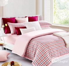 Pearl Pink Checkered Sweet Bedding Set