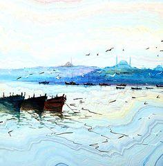 Hikmet Barutçugil Water Paper, Ebru Art, Water Marbling, Watercolor Paintings, Watercolours, Turkish Art, Marble Art, Artist Painting, Pretty Pictures