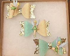 Tinker bell Bow Hair clip/Headbands Set, Princess Bow Hair clip/Headbands Set, Fairy Bow Hair clip/Headband Set