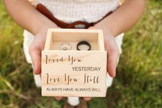 Engraved Ring Box Rustic Wood Ring Box Ring by DownInTheBoondocks