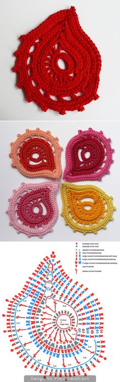 """#Crochet_Tutorial """"Beautiful paisley design from bizzyhands with chart. Explanations and tutorials at the site. The design is simple and unusual - perfect for colorplay!"""" Enjoy from #KnittingGuru"""