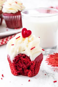 PERFECT red velvet cupcakes have a soft crumb, moist texture, hint of chocolate, and a gorgeous bright red color. Then they're topped with tangy cream cheese frosting for the best red velvet cupcake recipe. Red Velvet Cupcakes, Best Red Velvet Cupcake Recipe, Cupcake Cream, Red Cupcakes, Yummy Cupcakes, Velvet Cake, Cupcake Cakes, Frosting Recipes, Cupcake Recipes