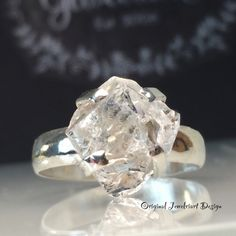 Items similar to Raw Herkimer Diamond Ring/Gorgeous Rough Uncut Herkimer Diamond Silver Ring./ Healing Crystal Ring/Free US Shipping. on Etsy Diamond Wedding Bands, Diamond Rings, Diamond Jewelry, Gold Jewelry, Raw Diamond, Tiffany Jewelry, Uncut Diamond, Etsy Jewelry, Turquoise Jewelry