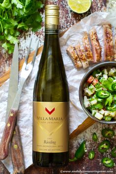 This New Zealand Riesling is dry, with balanced acidity and fruitiness without too much sweetness. Try it with Asian inspired fish or seafood dishes or to cut through the fatty richness or pork. PS. There's a recipe pairing for it, too!