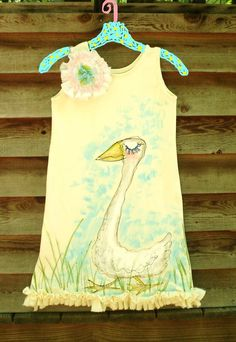 Goose Ruffles Handpainted Dress for a Darling Girl by YelliKelli, $50.00