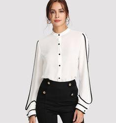 fd4c7030a36 белый элегантный стенд воротник длинный рукав  пуговицы черный в полоску  блузка Осень Для женщин Рабочая