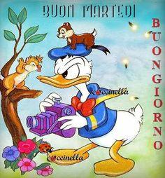 Donald Duck, Disney Characters, Fictional Characters, Italian Greetings, Good Morning, Fantasy Characters