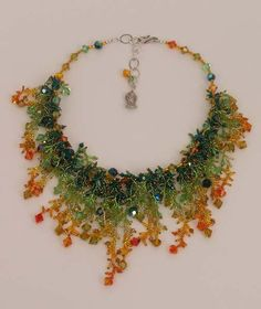 Glass bead necklace. Rainbow, Citrus. 2010 by Mary Darwall.