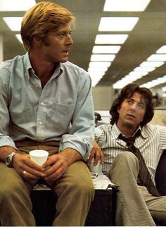 Robert Redford and Dustin Hoffman during the filming of All the President's Men (1976)