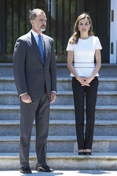 27 June 2017 - King Felipe and Queen Letizia meet the Slovenian President at Zarzuela Palace - blouse and trousers by Hugo Boss