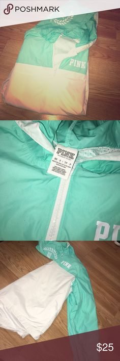 Victoria's Secret PINK mint blue wind breaker Size XS Small but can fit XS-Medium. OFFERS WELCOME 😊 PINK Jackets & Coats