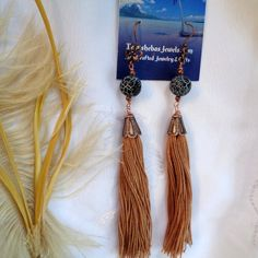 Items similar to Bohemian Tassel Dangles in Tan with Agate- Tassel Earrings- Agate Earrings with Tassel- Boho Tassel Earrings-- Hippie - Exotic Earrings on Etsy Etsy Earrings, Tassel Earrings, Agate Beads, Tassels, Exotic, Dangles, Bohemian, Jewels, Fun