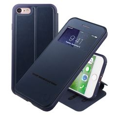 Nouske Swipe Case for iPhone 7 iPhone 8 with Stand/Window View/Magnetic Closing/TPU bumper/Flip Full Cover Navy Blue