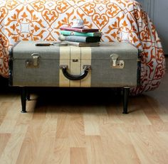 Suitcase Table!  Make one into a coffee table or night stand by altering the leg height...so easy to do!  Love the whimsy!