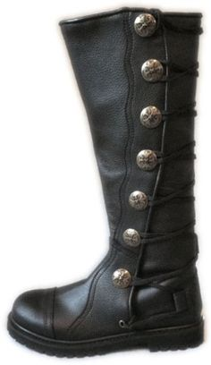 House of Andar Men's Black Leather Knee High Ren Boots with Hiking Sole