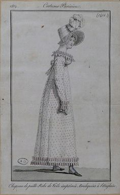 1814 Costume Parisien. Hat of straw. Gown of printed material. English boots.