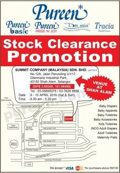 9-10 Apr 2016: Pureen Stock Clearance Promotion 2016