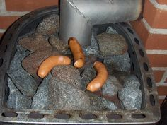 Sausage a 'la sauna! Sauna Ideas, Finnish Recipes, Finnish Sauna, Finland Travel, Sauna Room, Best Cleaning Products, Saunas, Painted Doors, Garden Furniture