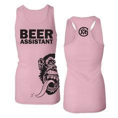 Gas Monkey Garage T-shirt; Ladies (Juniors Fit) Beer Assistant Pink Racerback Tank $19.95 #gasmonkeygarage #gasmonkey #richardrawlings #aaronkaufman #fastnloud #beerassistant