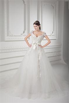 Robe de mariée élégante ballon V col ornée de fleurs en satin et en tulle2015