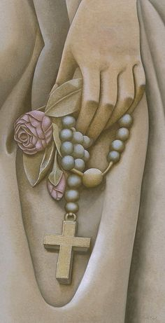 / Commissioned Painting: The statue with rosary painting symbolizes for MTMC a strong, living, rich catholic heritage, strength and faith- This faith is both inherent to the individual, and collectively as an institution. Catholic Religion, Catholic Art, Religious Art, Blessed Mother Mary, Blessed Virgin Mary, Mama Mary, Religious Pictures, Holy Rosary, Christian Art