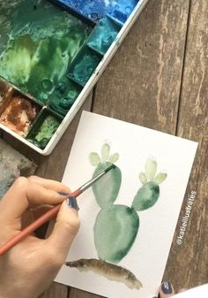 How to Paint a Simple Cactus Watercolor prickly pear cactus painting video. Illustration Cristal, Illustration Cactus, Watercolor Illustration, Cactus Painting, Cactus Art, Cactus Flower, Cactus Plants, Watercolor Plants, Easy Watercolor