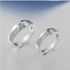 """Romantic """"You Are In My Heart"""" Crystal And Sapphire Lover's Sterling Silver Rings(Price For A Pair) - USD $170.95"""