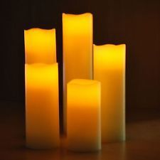 Set of 5 Battery Operated Slim Flickering LED Light Pillar Mood Wax Candles for sale online Led Candle Lights, Pillar Candles, Candles For Sale, Crackle Glass, Candle Set, Battery Operated, Elegant Wedding, Mosaic, Wax