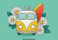 Kombi Margaridas Different color bus, sunflowers instead of daisies and take away the surfboards/books Pintura Hippie, Vintage Clipart, Vw Vintage, Van Drawing, Painting & Drawing, Volkswagen Bus, Combi Hippie, Surfboard, Art Hippie