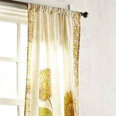 "Embroidered Sunflowers 84"" Curtain"