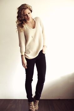 simple. sweater, black skinnys, strappy heels.