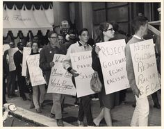This photograph was taken in 1964 of a picket line outside the St. Francis Hotel in downtown San Francisco during the presidential campaign of Barry Goldwater. The protestors were supporters of CORE, the congress for racial equality. They were demonstrating against Republican presidential nominee Barry Goldwater, against racism, and for the integration of public schools.  | Picture This