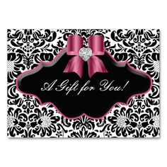Salon Jewelry Gift Card Bow Floral Damask Pink 2 Business Cards
