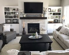 @heathermcatee #macsfarmhouse Farmhouse Decor, Farmhouse Mantle, Built In Bookshelves, Fireplace