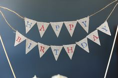 Happy Birthday Pennant Cupcake/ Cake Banner Topper Red White Blue 4th of July- Ready to ship
