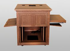 MWSFP-29 Evidence Cart in Quarter Sawn White Oak - Open on Left and Right. A locking cabinet below can have shelves or rack. A hidden access panel allows equipment service in the cabinet. #Workstation #Custom #Infocomm2012