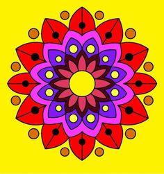 Mandalas coloreados fáciles - Mandalaweb Easy Mandala Drawing, Simple Mandala, Mandala Art, Hippie Painting, Dot Art Painting, Hand Tattoos, Elephant Coloring Page, African Crafts, Rangoli Designs Images