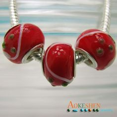 European Style Glass Beads10pcs Red Lampwork Murano by EOZYBEADS      $4.99