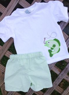 Boys Green Seersucker Bass fish outfit by GetStitchedByAnna, $30.00