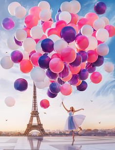 Paint by Number Kit - Ballerina holding balloons in Paris Eiffel Tower. by OurPaintAddictions Balloon Painting, Diy Painting, Paris Painting, Paris Eiffel Tower, Tour Eiffel, Ballons Fotografie, Ballon Rose, Paris Wallpaper, Paint By Number Kits