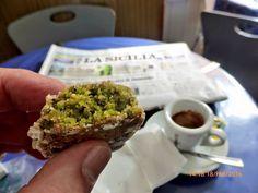 Bronte, Sicilia.  Pasta di Pistacchio e Caffè.