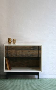 BDDW Lake Side Table with Oxidized Maple Front. Something like this, but wall-mounted, for our bedside?