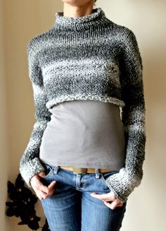 Grey Chunky Cropped Sweater Grey Hand Knitted Cropped by NastiaDi