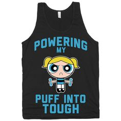 Power up, Powerpuff, Girls, Girly, Fitness, Exercise, Shirts, Tops, Tanks, Womens, Cute, American Apparel