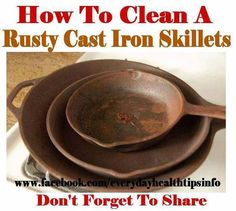How To Clean and Season Old, Rusty Cast Iron Skillets -- What You Need: The end chunk of a potato (enough to be able to hold firmly), Course salt, A rusty cast iron skillet, A little vegetable oil (canola or olive will do) -- Equipment: Gloves (optional, but recommended)