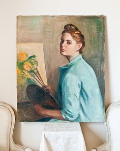 1950s Lady Portrait Oil on Canvas ~ Listed Artist