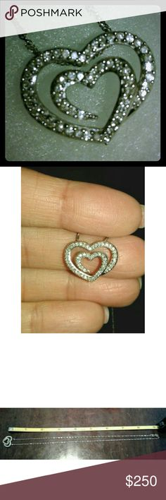 Diamond double hearts pendant and necklace 14kt white gold Diamonds Beautiful piece unknown  Jewelry Necklaces