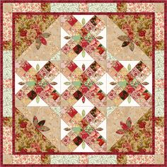 Free Easy Quilt Applique Patterns | Christmas Romance quilt2