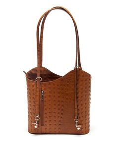 Look at this Cognac Asymmetrical Leather Shoulder Bag on #zulily today!